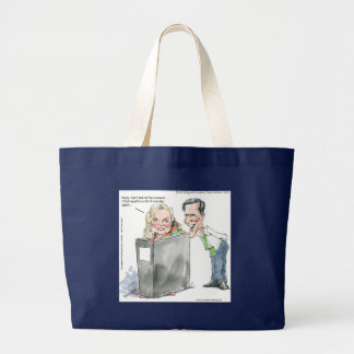 Ann Romney In A Binder Funny Gifts Tees & Cards Large Tote Bag
