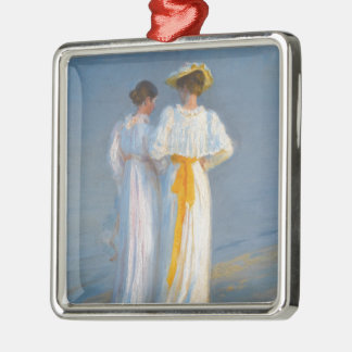 Anna Ancher and Marie Krøyer on the beach - Krøyer Metal Ornament