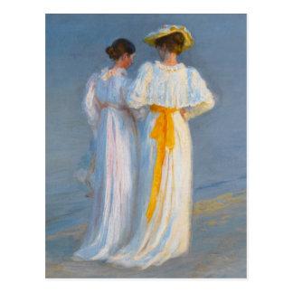 Anna Ancher and Marie Krøyer on the beach - Krøyer Postcard
