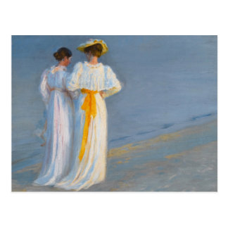 Anna Ancher and Marie Krøyer on the beach - Krøyer Postcard