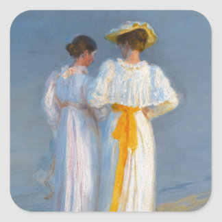 Anna Ancher and Marie Krøyer on the beach - Krøyer Square Sticker