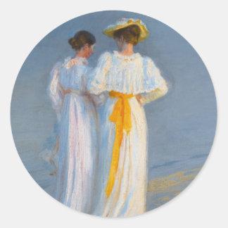 Anna Ancher and Marie Krøyer on the beach - Krøyer Classic Round Sticker