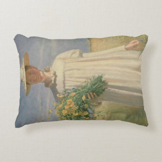 Anna Ancher returning from Flower Picking, 1902 Accent Pillow