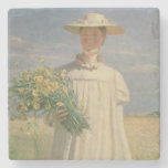 Anna Ancher returning from Flower Picking, 1902 Stone Coaster