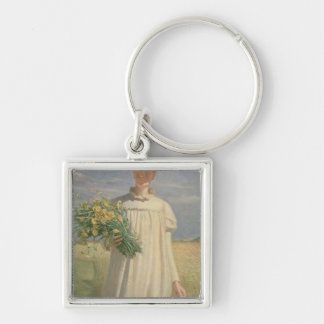 Anna Ancher returning from Flower Picking, 1902 Keychain