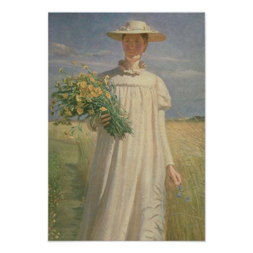 Anna Ancher returning from Flower Picking, 1902 Print