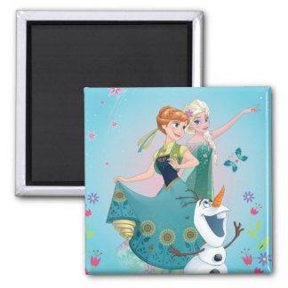 Anna and Elsa | Celebrate Sisterhood 2 Inch Square Magnet