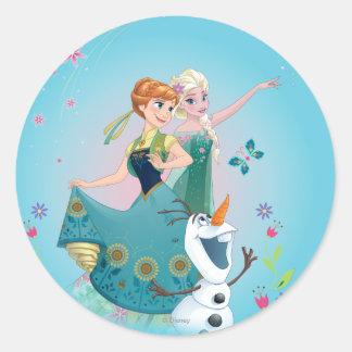 Anna and Elsa   Celebrate Sisterhood Classic Round Sticker