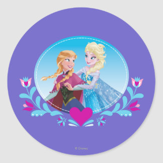 Anna and Elsa | Embracing Classic Round Sticker