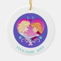 Circle Ornament with Disney Princesses Anna & Elsa in Heart design