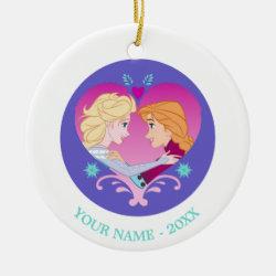Circle Ornament with Disney Princesses Anna & Elsa in Heart design