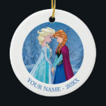 "Anna and Elsa | Facing Each Other Add Your Name Ceramic Ornament<br><div class=""desc"">Frozen - Anna and Elsa</div>"