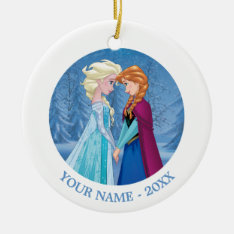 Anna And Elsa | Facing Each Other Add Your Name Ceramic Ornament at Zazzle