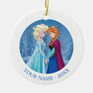 Anna and Elsa | Facing Each Other Add Your Name Ceramic Ornament