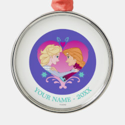 Premium circle Ornament with Disney Princesses Anna & Elsa in Heart design