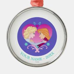 Premium circle Ornament with Disney Princesses Anna & Elsa in Heart design