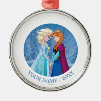 Anna and Elsa | Facing Each Other Add Your Name Metal Ornament