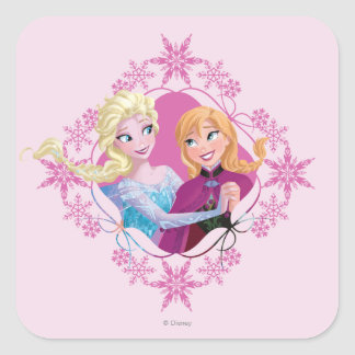 Anna and Elsa   Family Forever Square Sticker