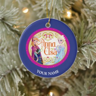 Anna and Elsa | Floral Frame Add Your Name Ceramic Ornament