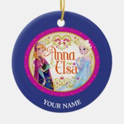 Circle Ornament with Anna & Elsa Floral Design design