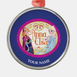 Premium circle Ornament with Anna & Elsa Floral Design design