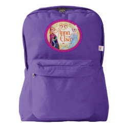 American Apparel Backpack with Anna & Elsa Floral Design design