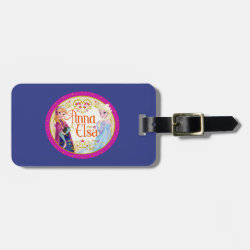 Small Luggage Tag with leather strap with Anna & Elsa Floral Design design