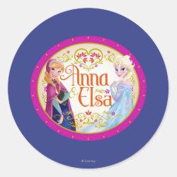 Round Sticker with Anna & Elsa Floral Design design