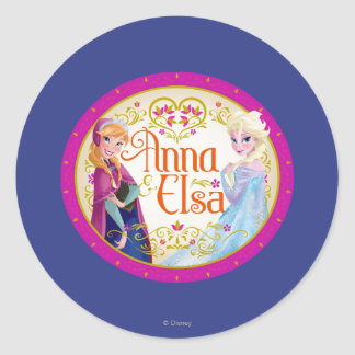 Anna and Elsa   Floral Frame Classic Round Sticker