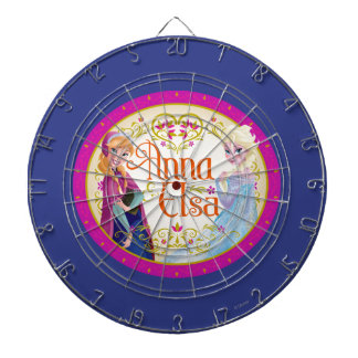 Anna and Elsa | Floral Frame Dartboard With Darts