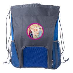 Drawstring Backpack with Bottle Holders with Anna & Elsa Floral Design design