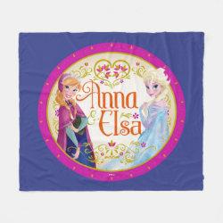 Fleece Blanket, 50'x60' with Anna & Elsa Floral Design design