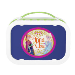 Green yubo Lunch Box with Anna & Elsa Floral Design design