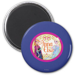 Round Magnet with Anna & Elsa Floral Design design
