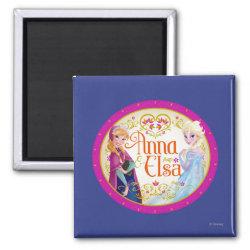 Square Magnet with Anna & Elsa Floral Design design
