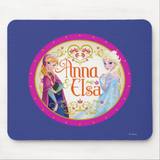 Anna and Elsa | Floral Frame Mouse Pad
