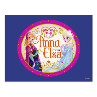Anna and Elsa | Floral Frame Postcard