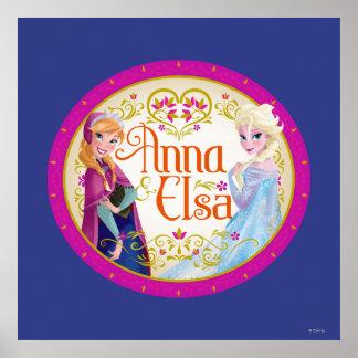 Anna and Elsa | Floral Frame Poster