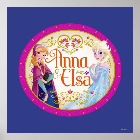 Anna and Elsa   Floral Frame Poster
