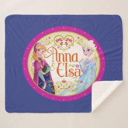 Sherpa Blanket with Anna & Elsa Floral Design design