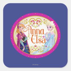 Square Sticker with Anna & Elsa Floral Design design