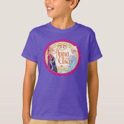 Kids' Hanes TAGLESS® T-Shirt with Anna & Elsa Floral Design design