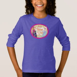 Girls' Basic Long Sleeve T-Shirt with Anna & Elsa Floral Design design