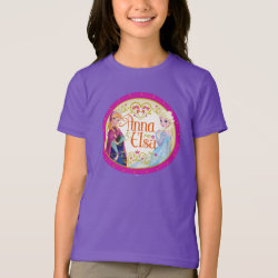 Girls' American Apparel Fine Jersey T-Shirt with Anna & Elsa Floral Design design