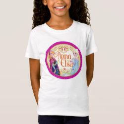 Girls' Fine Jersey T-Shirt with Anna & Elsa Floral Design design