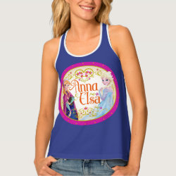 Women's All-Over Print Racerback Tank Top with Anna & Elsa Floral Design design