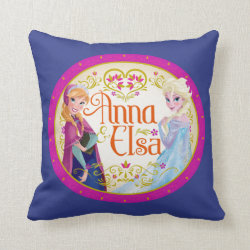 Cotton Throw Pillow with Anna & Elsa Floral Design design