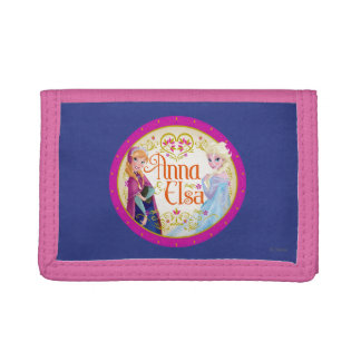 Anna and Elsa   Floral Frame Trifold Wallet