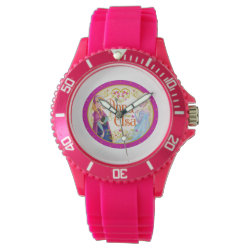 Women's Sporty Pink Silicon Watch with Anna & Elsa Floral Design design