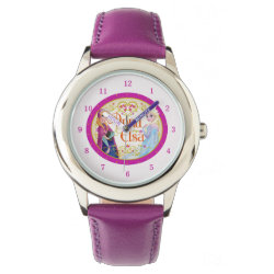 Kid's Stainless Steel Purple Leather Strap Watch with Anna & Elsa Floral Design design
